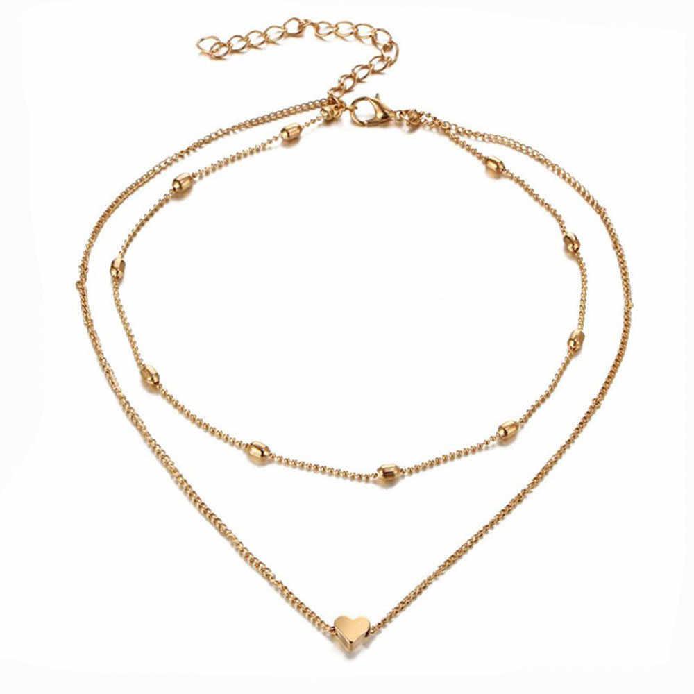 Valentine Hadiah Perhiasan Klasik Bergaya Elegan Yang Terompet Ganda Liontin Hati Kalung Emas Dot Kalung Wanita