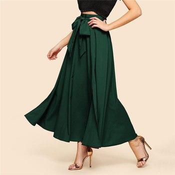 Maxi falda vintage verde