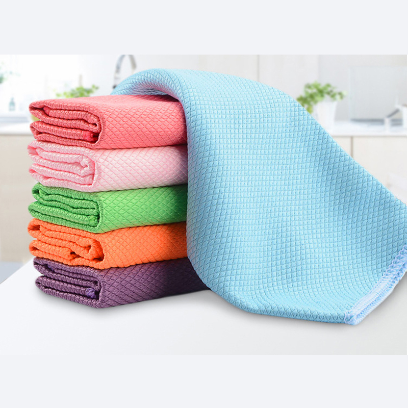 3PCS 30 x 40cm Soft Microfiber Cleaning Towel Kitchen Absorbable Glass Window Cleaning Cloth Car Dish Towel Dust Clean Pack New(China)