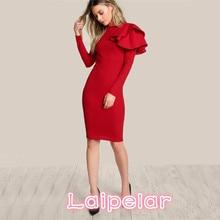 Laipelar Red OL Elegant Bodycon Dress 2018 Women One Side Tiered Ruffle Cute Long Sleeve Dress Autumn New O Neck Sexy Midi Dress недорого
