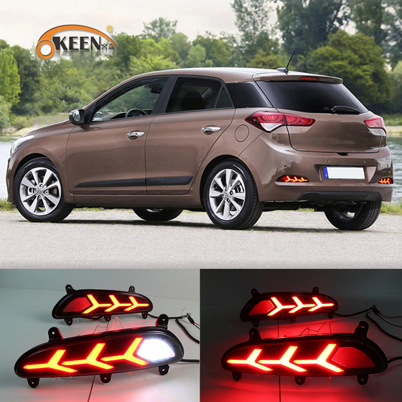 OKEEN 2pcs Car LED Rear Bumper Reflector Light for Hyundai I20 Asta 2015 2016 2017 Driving