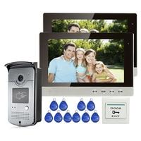 Free Shipping New 10 Color Screen Video Door Phone Intercom 2 Monitors + Outdoor RFID Reader Doorbell Camera IN Stock WHOLESALE