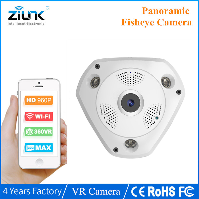 HD WiFi Camera 960P Fisheye Panoramic Wireless VR Camera Network IP CCTV  Security Surveillance IR-CUT Onvif erasmart hd 960p p2p network wireless 360 panoramic fisheye digital zoom camera white