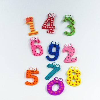 Drewniane magnesy na lodówkę Cyfry 15 sztuk