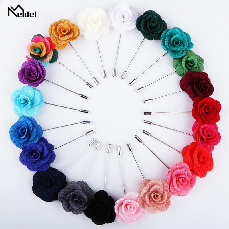 Meldel Corsage Men Boutonniere Lapel Pin Bridal Bridesmaid Party Fabric Corsages Groom Prom Wedding Meeting Flower 2pcs Brooch
