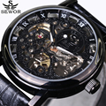 SEWOR Luxury Top Brand Men's Sports Watches Automatic Mechanical Skeleton Watch Casual Male  Leather Wrist Watches 2016 New
