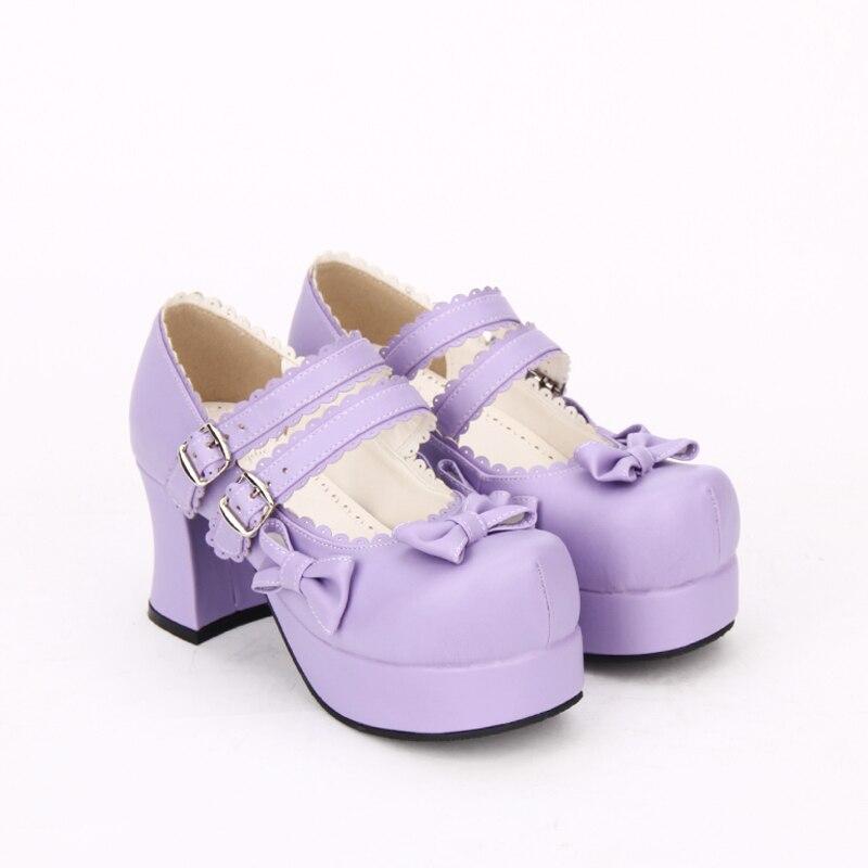 Lady Papillon Lolita Chaussures 5 Robe 7 Empreinte Princesse Cosplay Haute Pompes Angélique Femmes Fille Talons Noeuds 33 Purple Cm Partie Femme Mori 47 qSIwC1
