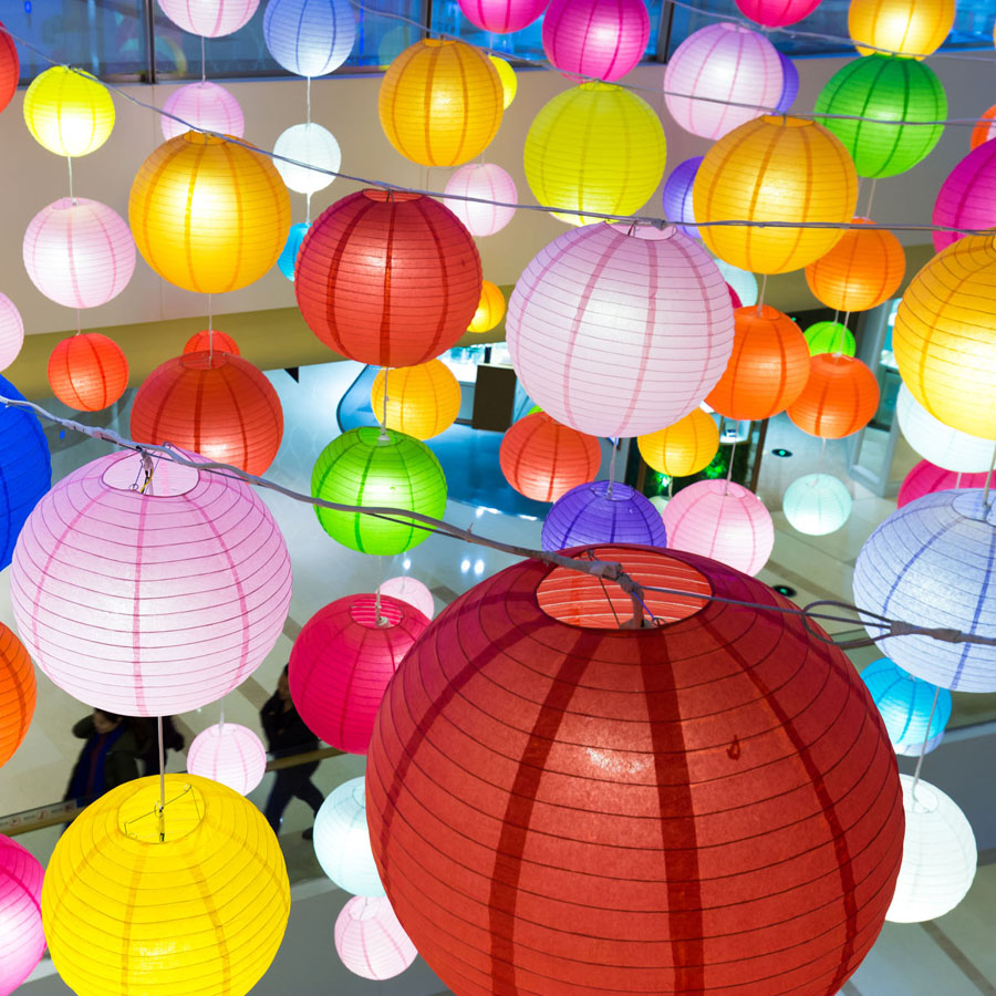 10pcs/lot 6-16inch White Chinese Paper Lantern Lights Colorful LED Paper Ball Lampion Festival Wedding Party Decoration