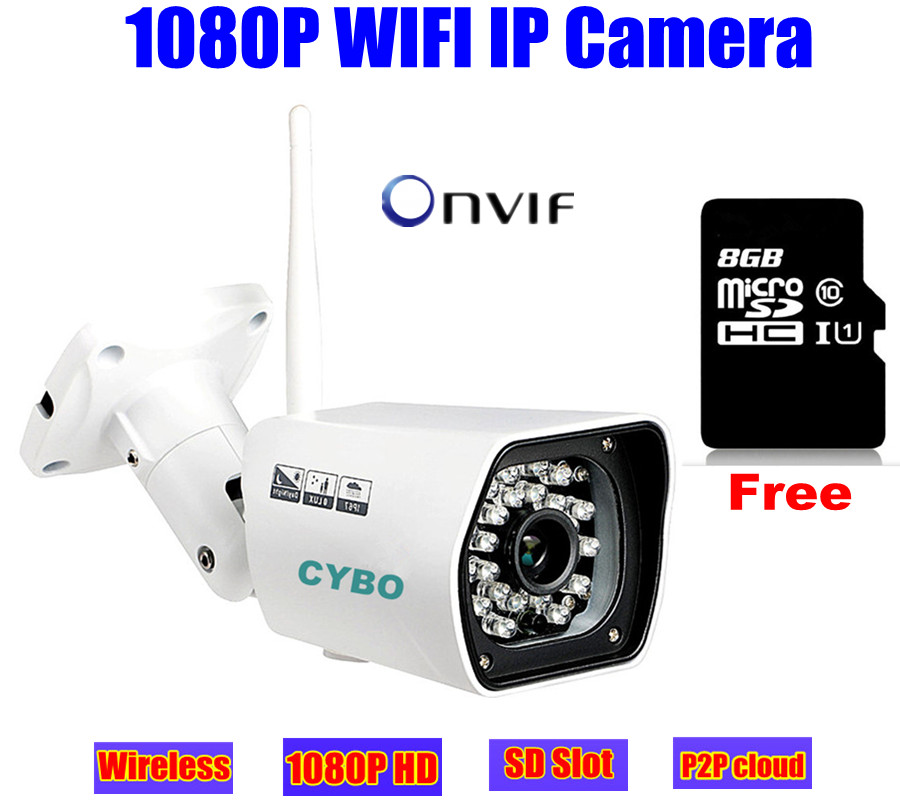wireless cctv IP camera 1080p HD sony cmos Megapixel 2mp WIFI security outdoor IR onvif surveillance camera system 8GB SD Card ip camera wifi 720p onvif wireless camara video surveillance hd ir cut night vision mini outdoor security camera cctv system