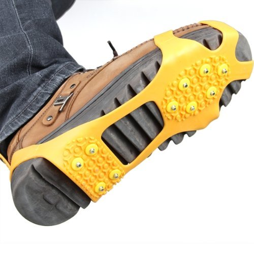 Pair Ice Snow Shoe Spikes Grips Crampons Cleats  Climbing Orange M