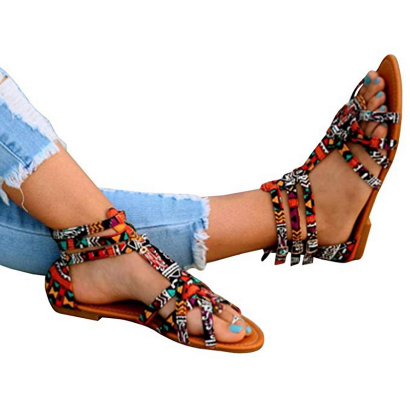 Nuova Estate Scarpe Da Spiaggia per le Donne Della Boemia Sandali Alla Moda Stampato Cinturino Alla Caviglia Open Toe Sandali Colorati Casual Scarpe Outdoor