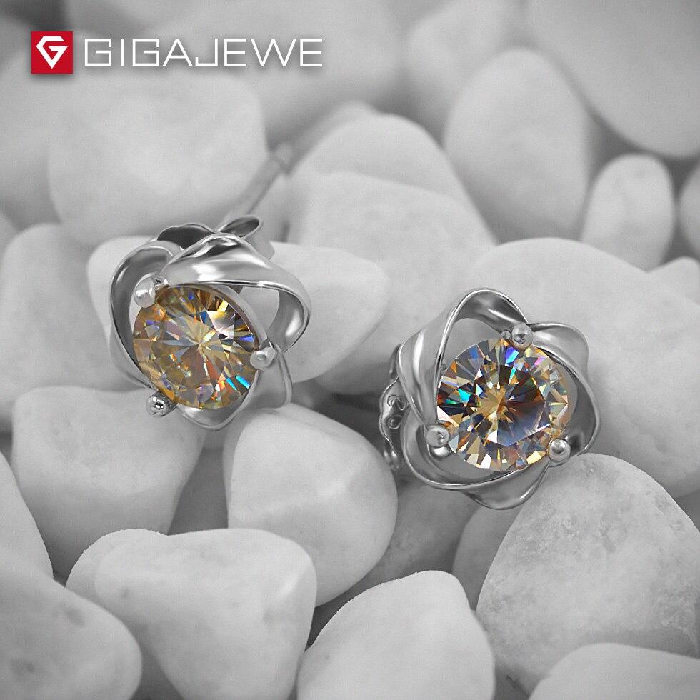 GIGAJEWE Moissanite Yellow Round Cut Total 1 0ct Lab Grown Diamond 3 Prong Silver Earrings Fashion