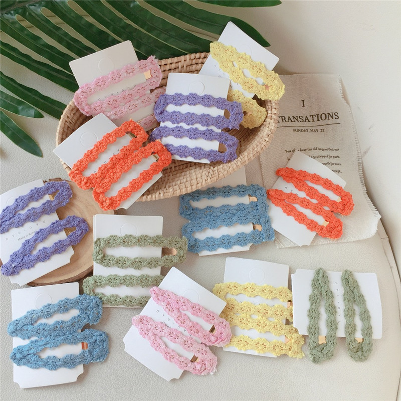 HZ 2019 Lace Elegant Colorful New Cloth Waterdrop Rectangle Hollow Alloy Hair Clip Hairgrip Hairpin Hair Accessories For Women