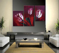 Fashion Modern Red Big Lily Flower Oil Painting Wall Pictures For Living Room Home Decoration Abstract