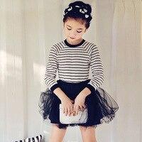 High quality girls dress children long sleeved striped gauze dresses child Princess stitching clothing