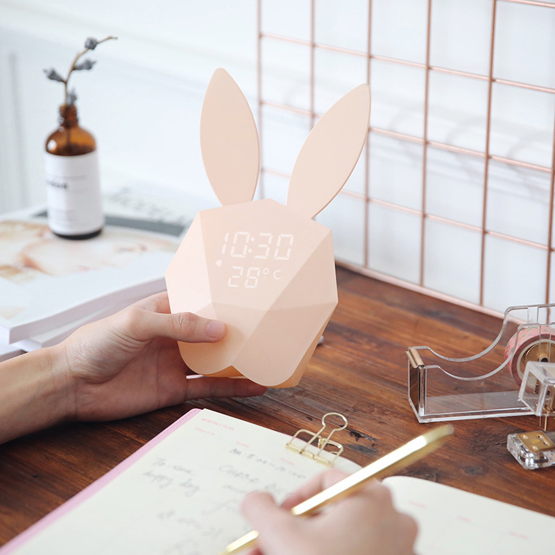 2017 New alarm clock thermometer calendar rabbit ears rechargeable smart voice control small night lamp magnet adsorption lovely