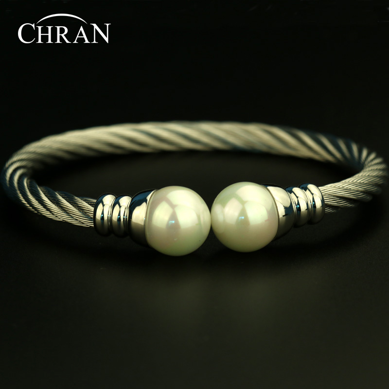 Free Shipping Simple Stainless Steel Open End Twisted Cable Bangle Silver Plated Shell Pearl Bracelets For Women