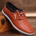 2016 Outono e Inverno Novos Homens Sapatos Moda Casual Rendas Up Sapatos de Couro Dos Homens de Cor Pura Não-deslizamento Resistente Ao Desgaste Masculino sapatos