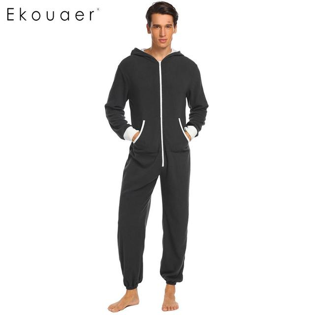 Ekouaer Men Pajama Set Onesies Sleepwear Fleece Hooded Long Sleeve Zip Up Patchwork Plus Size One-Piece Pajamas Sleepwear S-XXL