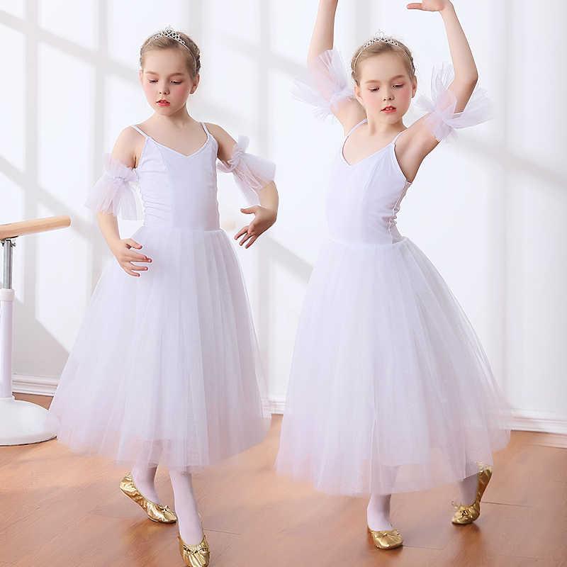 b0c65c09ff Nuevas faldas tutú de Ballet para niñas Giselle Swan blanco estilo  romántico largo tutú Ballet danza