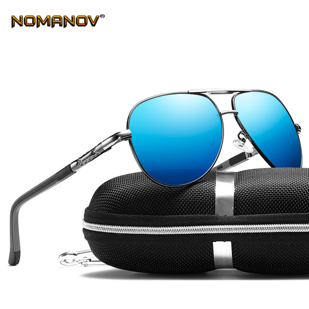 Men Al-mg Double Bridge Spring Hinge Cool Sun Glasses Polarized Sunglasses Custom Made Myopia Minus Prescription Lens -1 to -6