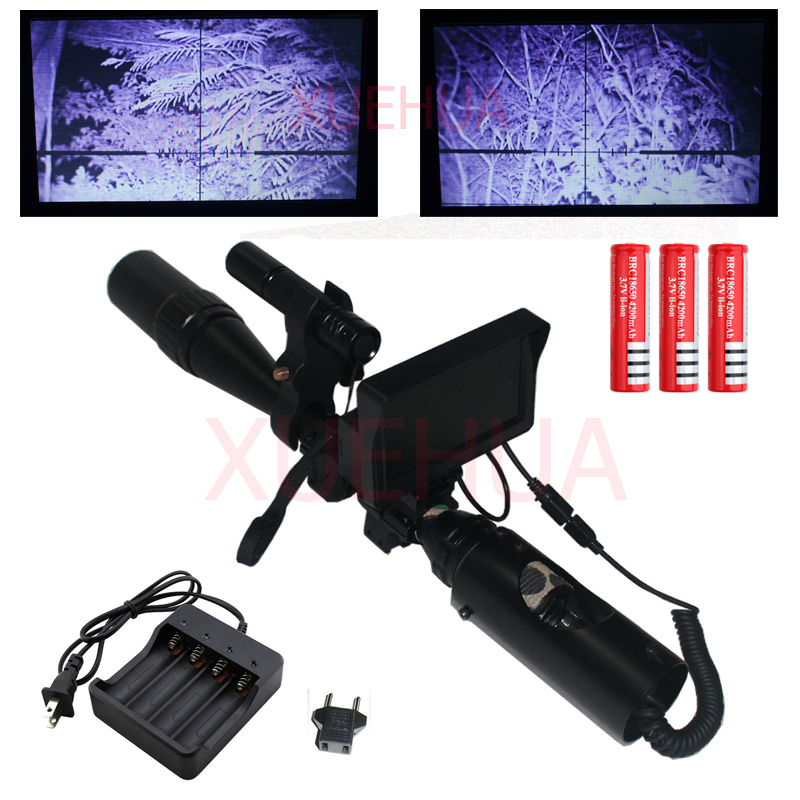 Hot New Sniper Outdoor Hunting Optics night vision Riflescope Tactical rifle scope with Battery Charger LCD and IR Flashlight magpul g lt p moe sniper rifle limited edition