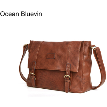 OCEAN BLUEVIN Genuine Leather Men's Messenger Bag Fashion Zipper Bags Casual Shoulder Bags for Men Crossbody Leather Handbag Bag