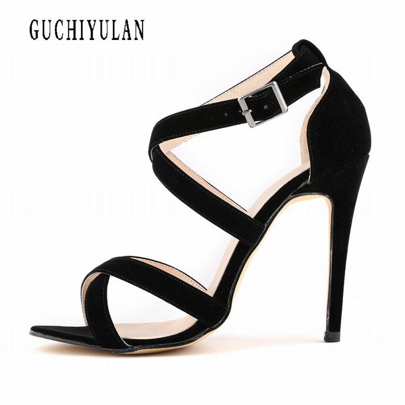 Brand Women Pumps 8cm Pointed Toe High Heels summer Fashion Women Shoes Rivets Pumps Genuine Leather Ankle Strap High Heel Shoes