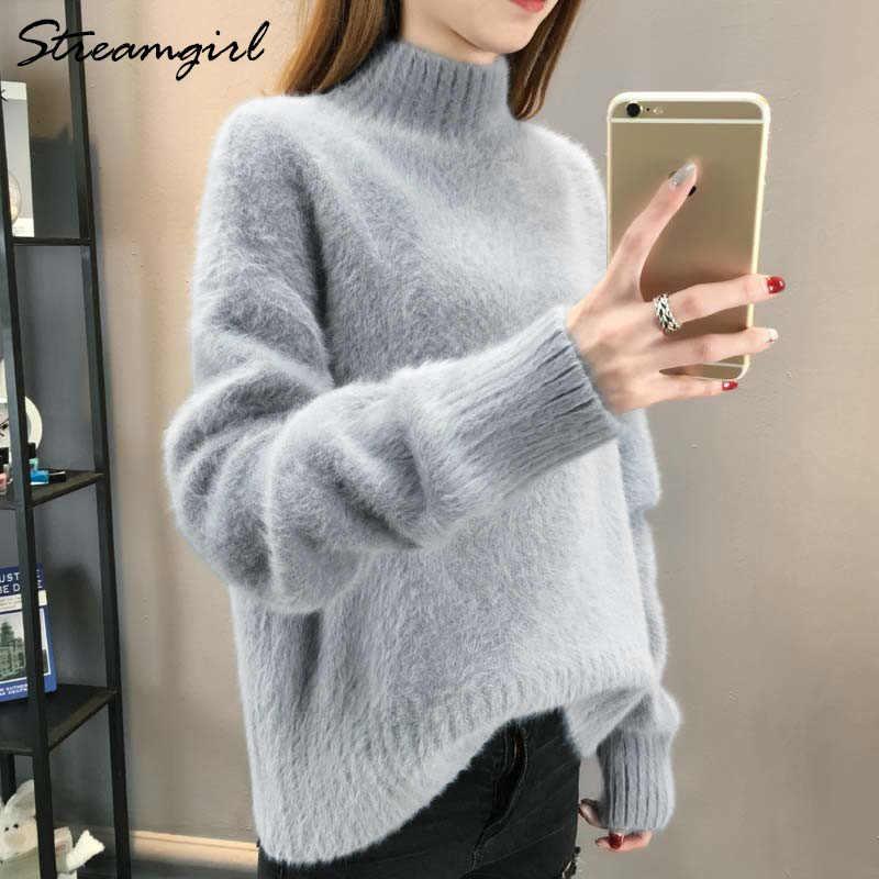 6e4343de8 Fluffy Turtleneck Sweater Women Winter Imitation Mink Cashmere White  Oversized Sweater Warm Sweaters Jumpers Ladies Jumper Women