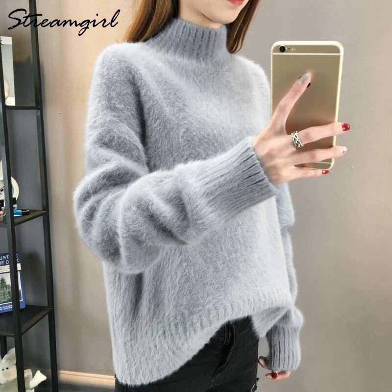 60016a8ab3 Fluffy Turtleneck Sweater Women Winter Imitation Mink Cashmere White Oversized  Sweater Warm Sweaters Jumpers Ladies Jumper Women