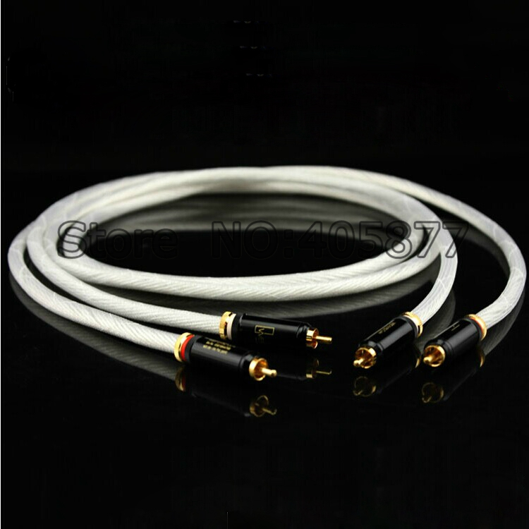 Pair Hifi audio Pure Silver Plated RCA Audio Cable 1M RCA Interconnect Audio Cable pair fa 220 rca pcocc conductor wire interconnect audio cable 1 5m diy