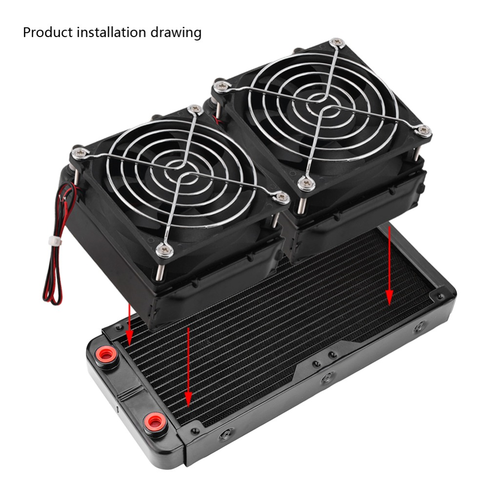 240mm G4/1 Aluminum Computer Water Cooling Cooler For CPU LED Heatsink 1u server computer copper radiator cooler cooling heatsink for intel lga 2011 active cooling
