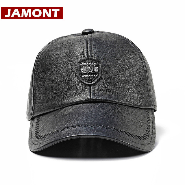 JAMONT  Brand Men Baseball Cap Winter Snapback Hat PU Leather Hats Warm  Windproof Cap Outdoor Hat High Quality Casquette 50067df638e9