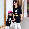 2017 outono mãe e filha t-shirt mickey dos desenhos animados camisetas de manga longa correspondência mãe filha roupas mommy and me roupas