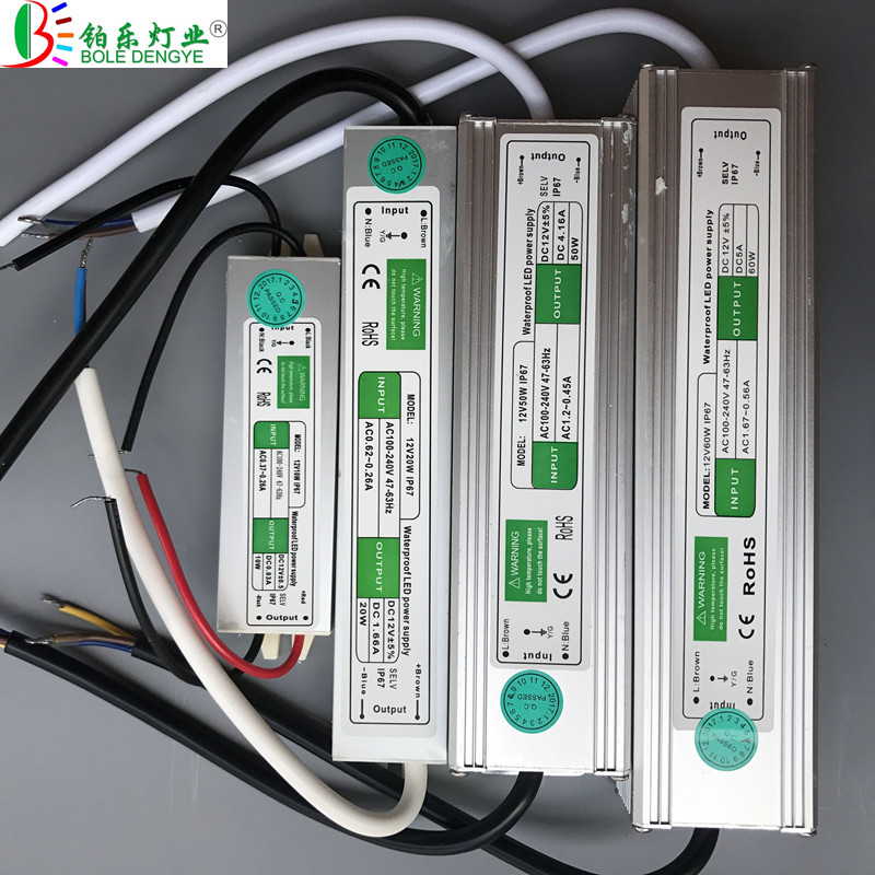 BOLEDEGNYE AC 220V To DC 12V/24V Waterproof Power Supply 10W 20W 30W 50W 60W 100W 150W 200W IP67 LED Transformer Adapter Driver 24v 8 5a power supply waterproof ip67 adapter ac 96v 240v transformer dc 24v 200w ac dc led driver switching power supply ce fcc