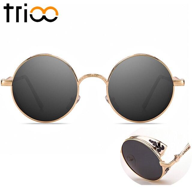 TRIOO gafas de sol redondas hombres talla hoja Oculos MARCO DE ORO ...