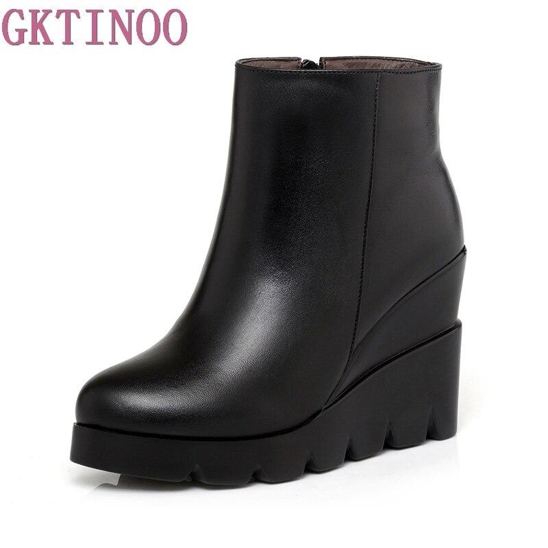 2017 на осень-зиму из мягкой кожи на платформе Обувь на высоком каблуке для девочек ботильоны на танкетке обувь для Модные женские ботинки жен...