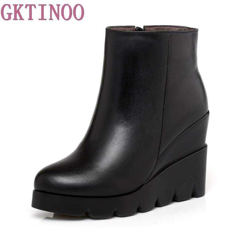 2017 autumn winter soft leather platform high heels girl wedges ankle boots shoes for woman fashion boots women Size 34-40