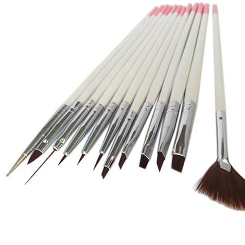 12pcs Colorful Nail Art Polish Brush Painting Draw Pens Brush Tips Tools Set Wooden Handle UV Gel Nail Print Brushes Kit кабель акустический vivanco 46824 transparent