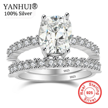 YANHUI 100% Original 925 Sterling Silver Rings Set Cubic Zirconia Engagement Jewelry Wedding Rings Gift for Bride Women RA0161 недорого