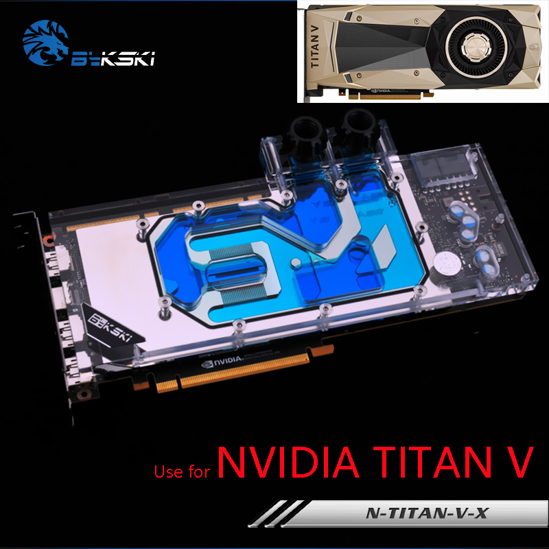 Bykski Full Cover Graphics Card Water Cooling Block use for NVIDIA TITAN V Public Version Radiator Liquid Block N-TITAN-V-X bykski multicol water cooling block cpu radiator use for amd ryzen am3 am4 acrylic cooler block 0 5mm waterway matel bracket