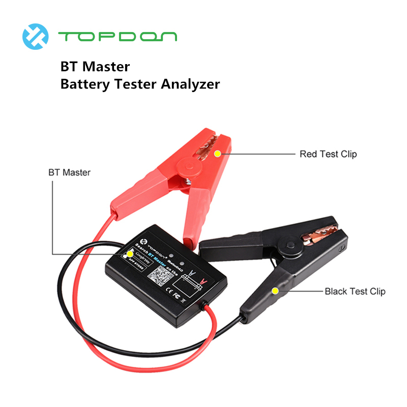 TOPDON BT Master Battery Tester Analyzer Bluetooth 4.0 Wireless 12V Diagnostic Tools Car Motorcycle Heavy Duty Truck PK BA101TOPDON BT Master Battery Tester Analyzer Bluetooth 4.0 Wireless 12V Diagnostic Tools Car Motorcycle Heavy Duty Truck PK BA101