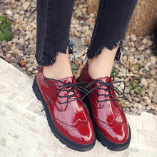 AD AcolorDay Fashion Popular Brogues Oxford Shoes for Women Round Toe Lace Up Patent Leather Luxury Brand Shoes Women Red Spring