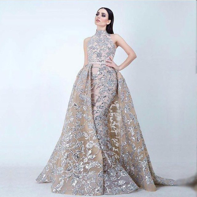 Dreambridal Arabic Girl Dress Glitter Lace Sequins Mermaid Evening ...