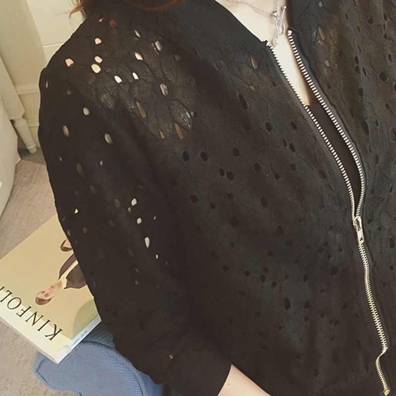 Damska letnia cienka kurtka z długim rękawem z filtrem przeciwsłonecznym damska odzież Hollow Out oddychająca kurtka Bomber biała