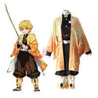 Japanischen Anime Dämon Slayer Kimetsu keine Yaiba Agatsuma Zenitsu Cosplay Kostüm herren Kimono Uniform Outfit Halloween-Party Anzug