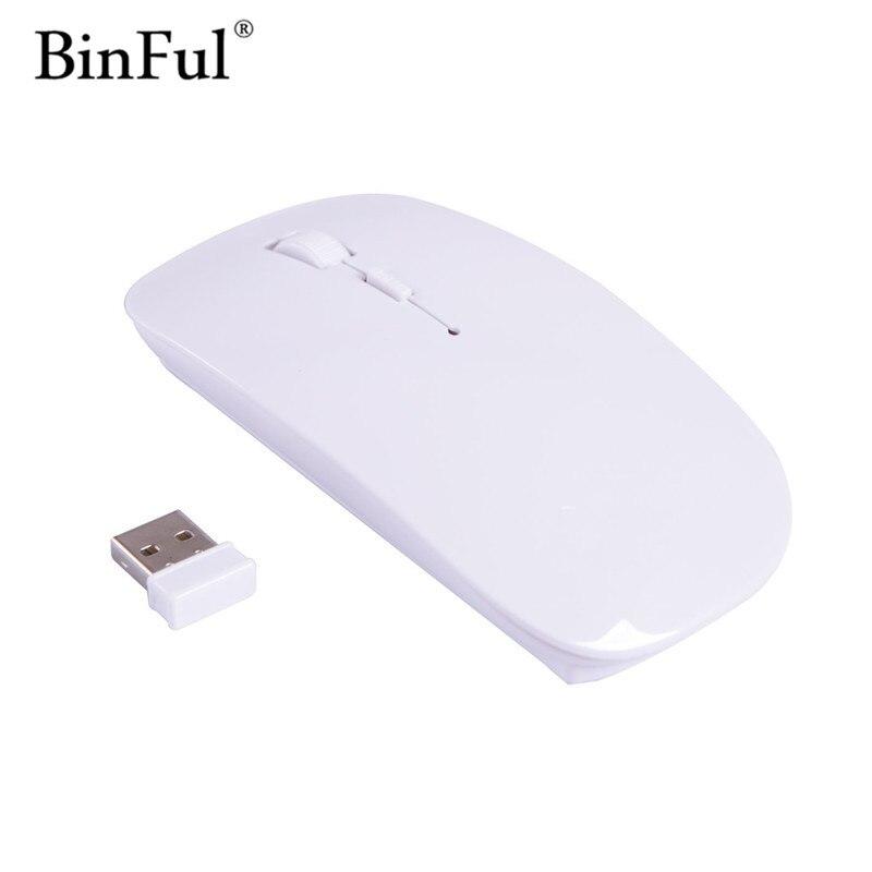 Binful качество продвижение 2.4 ГГц Беспроводной USB оптическая Мышь геймер для Mac тонкий Мыши компьютерные 6 видов цвета