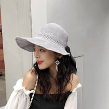 HOT Womens Flat Straw Summer sunvisor Hats Ladies Wide Brim Stylish Black Bow floppy Sun Hat Foldable New Beach Accessories