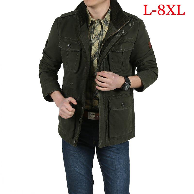 Erkek Kıyafeti'ten Ceketler'de Büyük boy L 8XL askeri ceket erkek obezite pamuk standı yaka mens dış giyim palto jaqueta masculina erkek ceket'da  Grup 2