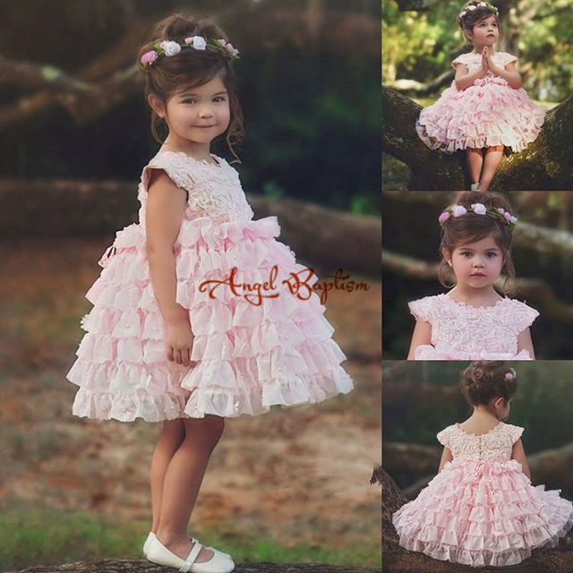 2016 Pink Tiered Lace Flower Girl Dresses for Wedding Lace communion dresses for girls pageant dresses kids evening gowns 1 12t pink lace long trailing wedding dress flower girl dresses appliques first communion dresses for girls pageant dresses